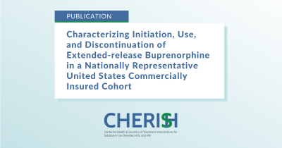 """Text on image says, """"Characterizing Initiation, Use, and Discontinuation of Extended-Release Buprenorphine in a Nationally Representative United States Commercially Insured Cohort"""""""