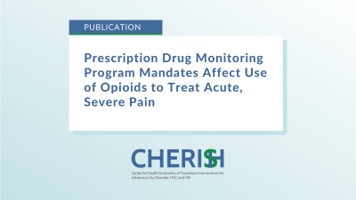 """Text on image that says, """"Prescription Drug Monitoring Program Mandates Affect Use of Opioids to Treat Acute, Severe Pain"""""""